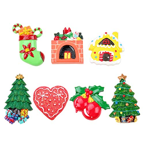 DOITOOL 7 imanes de nevera con diseño de Navidad para nevera, resina creativa para nevera, regalo para decoración del hogar (patrón aleatorio)