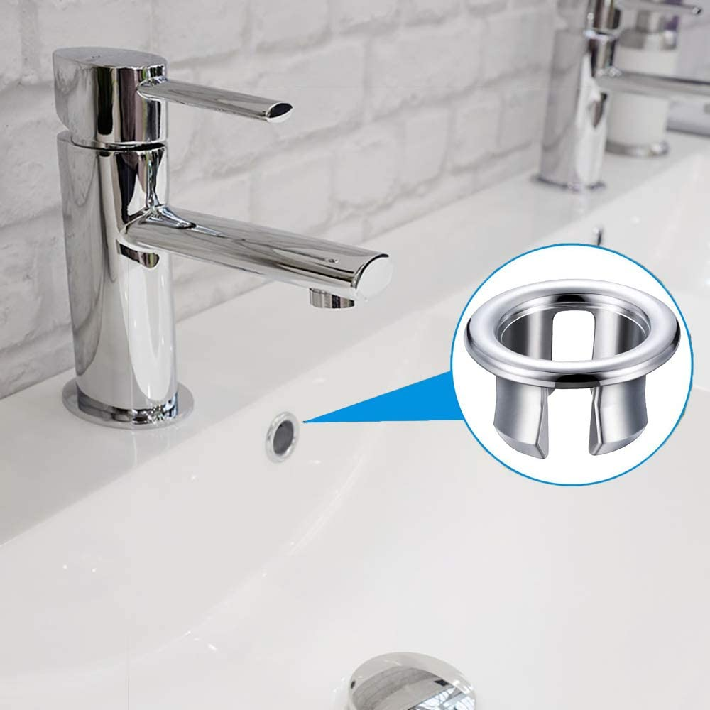 Sink Overflow Ring,4 Pieces Kitchen Bathroom Basin Sink Overflow Ring Round Cover Basin Trim Overflow Drain Cap Cover Insert in Hole Spares
