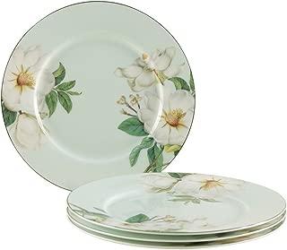 Gracie Bone China 7-1/2-Inch Dessert Plate, Blue White Magnolia, Set of 4
