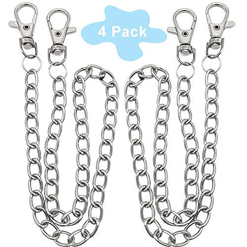 BESTZY Gliederkette, 4 Stück Metallkette Gliederkette mit Karabinerhaken Zubehör für Hut Kostüm Dekoration (Silber)