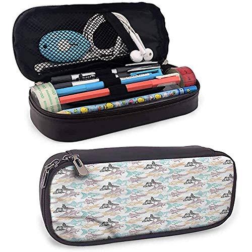 Aquarium Goldfisch und Barsch Umriss Leder Bleistift Fall Reißverschluss Briefpapier Tasche Tasche Stift Fall