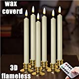 NONNO&ZGF 10 inch Flameless Battery Powered Ivory Wax Taper Windows Candles with Remote and Timer & Candlestick, Warm White Flickering Light LED, Gold candlesticks Set of 6 …