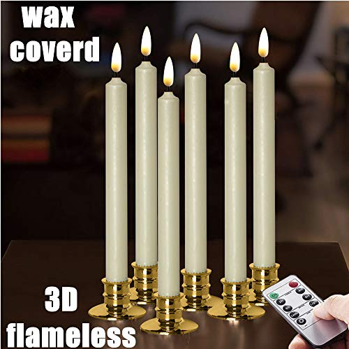 NONNO&ZGF Flameless Ivory Taper Window Candles with Removable Golden Candleholders with Remote and Timer, 10' Flickering Battery Operated Wax-Dipped LED Candles Set of 6