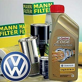 Kit con Aceite de Motor Castrol Edge Professional ll035W-30+ filtros Mann–Golf Vi/Cabrio Vi/Golf Plus