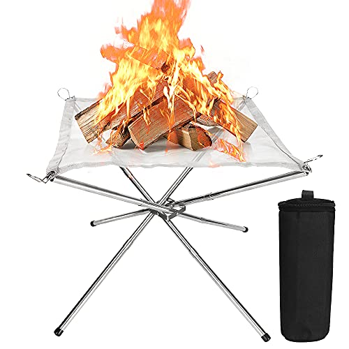 Luckits - Brasero portátil de 22 pulgadas, para camping al aire libre, plegable, de malla de acero, para exteriores