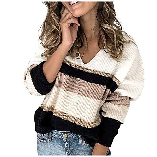 Fossen Jerséis, Cárdigans y Sudaderas para Mujer - Suéter de Punto Ahuecado con Capucha Color de Costura