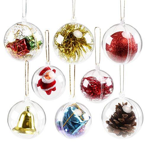 GWHOLE 15 Stück Acrylkugeln Weihnachtskugeln Kunststoff Transparent Teilbar Ø 4, 5, 6cm Weihnachtsdeko Christbaumschmuck