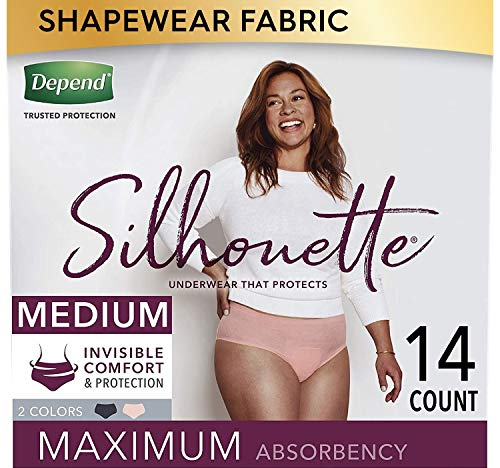 Depend Silhouette Incontinence and Postpartum Underwear for Women, Maximum Absorbency, Disposable, Medium, Pink and Black, 14 Count