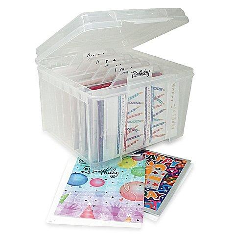 IRIS USA Card Storage Box with Dividers