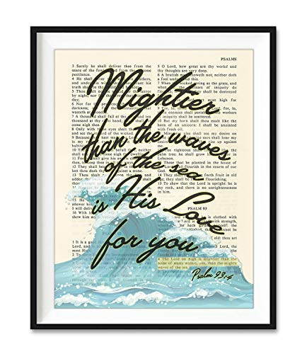 Mightier Than the Waves of the Sea Is His Love for You, Psalm 93:4, Christian Unframed Art Print, Vintage Bible Verse Scripture Wall and Home Decor Poster, Inspirational Gift, 5x7 inches
