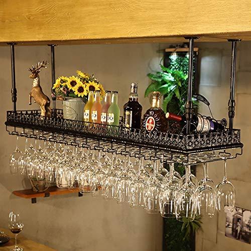 FAFZ Portavini Scaffale Galleggiante da Bar Vintage Industriale, Portabottiglie per Vino in Metallo A Soffitto, Supporto per Calice Sospeso, Regolabile in Altezza, Espositore per Espositore da Bar
