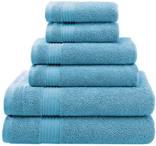 American Veteran Towels, Premium, Luxury Hotel & Spa, Turkish Towel Cotton 6-Piece Towel Set for Maximum Softness & Absorbency