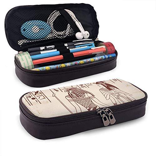 Estuche de lápices de cuero de dibujo nacional egipcio Estuche de lápices con cremallera Estuche de lápices para estudiantes Caja de papelería de gran capacidad