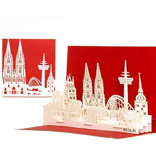 """Pop Up Karte\""""Kölner Skyline\"""" 3D Köln Panorama Geburtstagskarte, Einladungskarte & Gutscheinkarte – als Reisegutschein, Einladung & Geschenkgutschein mit 3D Modell Kölner Dom aus Papier"""