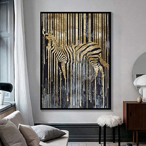 KWzEQ Nordic Abstract Zebra Gold and Black Posters and Prints HD Animal Wall Art Painting,Pintura sin Marco,60x90cm