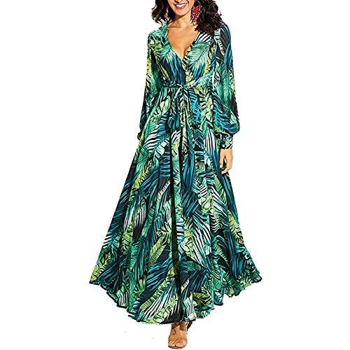 Carolilly Boho Kleid Damen Maxikleid mit Blumendruck Strandkleid V-Ausschnitt Partykleid für Frauen Abendkleid Langarm Sommerkleid (Grün A, M)