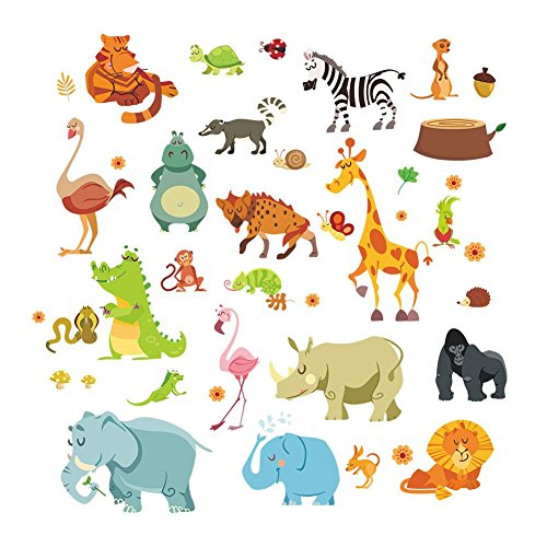 Jungle Wild Animal Monkeyn Lion Giraffe Elephant Dinosaur Zebra Wall Stickers Wall Decal Vinyl Removable Art Wall Decals for Girls and Boys Nursery Room Children's Bedroom