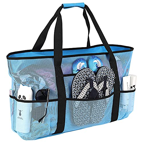 Bolsa de playa, extra grande, bolsas de playa para mujer, impermeables, a prueba de arena, bolsas de malla para playa, bolsa de piscina, artículos esenciales para la playa (azul)