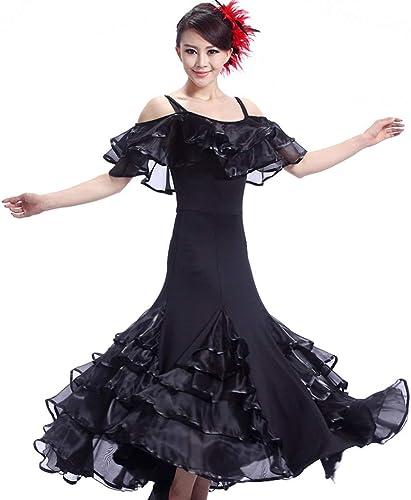Élégante Feuille De Lotus Col Moderne Robes De Danse De Salon Robes De Danse De Danse Concours Grande Jupe (Couleur   noir, Taille   L)