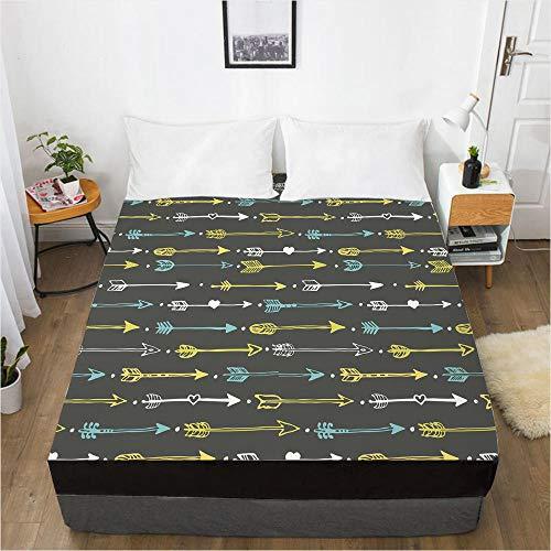 lhmlyl Double Bed Sheet 3D Digital Printing Bed Sheet Mattress Cover-Fresh 009-Black-F_152X203X40Cm