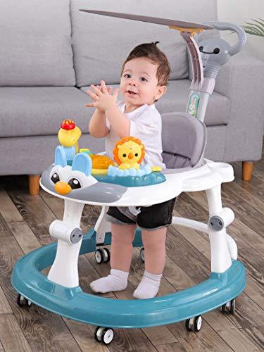 Olz Andador de bebé Verde Ajustable en Altura con empujador y sombrilla, Andador de bebé Plegable multifunción antivuelco, antivuelco para niños y niñas de 6 a 18 Meses