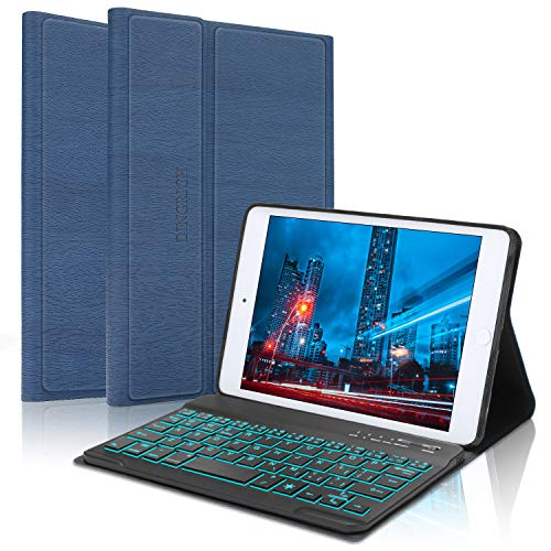 Funda Universal para iPad Mini 1, 2, 3, 4, 5, con función Atril y Teclado Bluetooth inalámbrico con retroiluminación Desmontable magnéticamente para Apple iPad, Color Azul Marino
