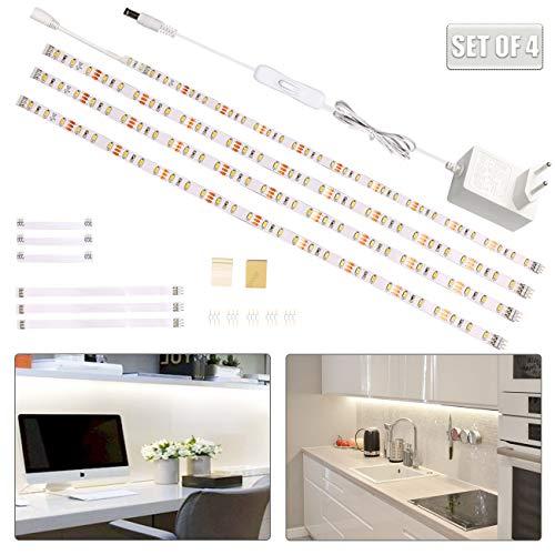 Wobsion LED Band 2m, Kuechen LED Unterbauleuchte, 4X50cm Lichtleiste mit Schalter, LED Strip Weiß, Küchenbeleuchtung Stripes,LED Schrankbeleuchtung,Regalbeleuchtung1200 LM 6000K, Küchenlampe