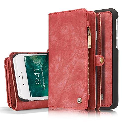 iPhone 8 Plus / 7 Plus Wallet Case, XRPow 2In1 Detachable Magnetic Premium Folio Flip Zipper Purse Case Slim Shock Cover with Flip Credit Card Slots Cash Pocket for iPhone 7 Plus/8 Plus 5.5 inch