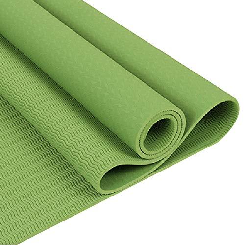 strimusimak Colorido TPE Esterilla de yoga en casa, gimnasio, pilates, entrenamiento, fitness, ejercicio, antideslizante, unisex, color verde claro