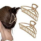 2 Stück Large Metal Claw Clips Retro Minimalist Crescent Shaped Hair Clips, Fixing Styling Hair Hollow Non-Slip Hair Accessories for Women (Gold )