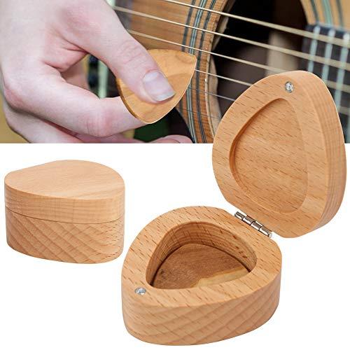 Kleines tragbares Plektrumgehäuse, akustische Plektrumbox, lustiges Buchenholz für die Aufbewahrung des Gitarristen