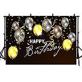 MEHOFOTO - Pancarta de cumpleaños para niños y adultos de 2,2 x 1,5 m, fondo negro para fotografías con globos plateados y dorados, accesorios de fotografía