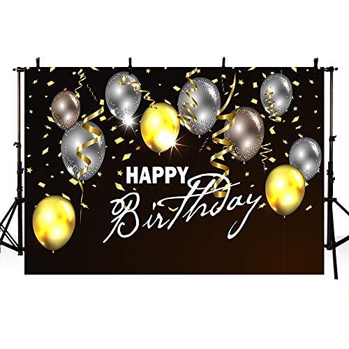 MEHOFOTO 7x5ft Zwart en Goud Verjaardag Banner Fotografie Backdrops Kinderen Volwassen Gelukkige Verjaardag Partij Decoraties Achtergrond Goud Zwart Zilver Ballon Lint Backdrops Poster voor Fotografie Props