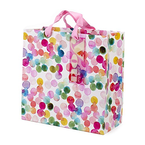 Hallmark 10' Large Square Gift Bag (Watercolor Dots, Just for You) for...