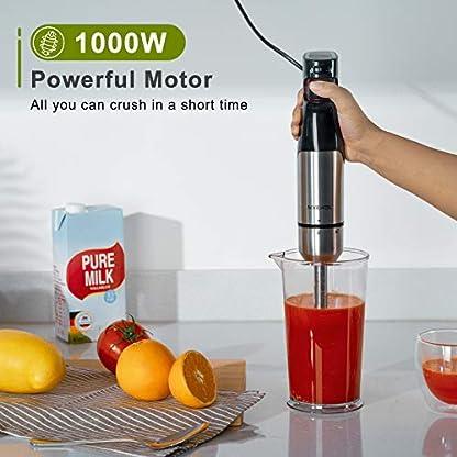 NIXIUKOL-Stabmixer-1000-Watt-Edelstahl-Puerierstab-Mixer-mit-stufenloser-Geschwindigkeitsregelung-Edelstahl-abnehmbarer-Mixfuss-schwarz