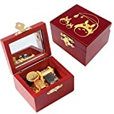 Youtang Music Box Carved Wood Musical Box Wind Up Mechanism Mucial Gift for Christmas,Birthday,Valentine's Day (My Neighbor Totoro, Gold)