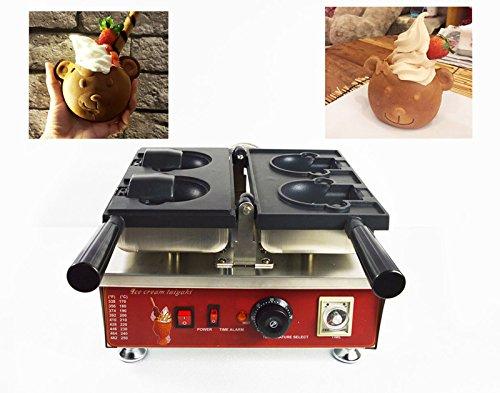 Nonstick Electric Ice Cream Cartoon Bear Waffle Maker Baker Machine 110V