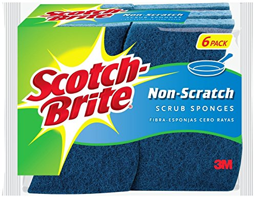 3M 526 No Scratch Multi-Purpose Scrub Sponge, 4 2/5 x 2 3/5'', Blue, 6/Pack