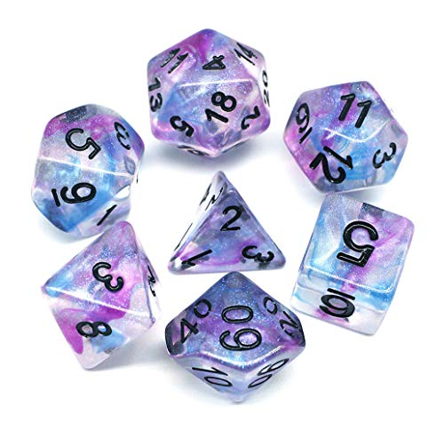 HD Dice DND Dice Set RPG Glitter Dice Fit Dungeons and Dragons D&D Pathfinder MTG Role Playing Games Polyhedral Dice Transparent Dice with Purple & Blue Swirls