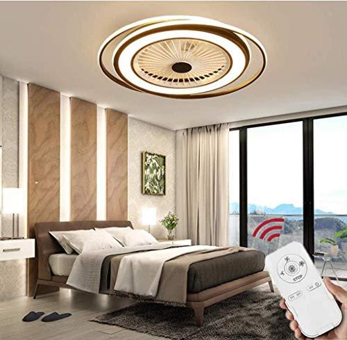HZJ Ventilador De Techo con Lámpara, 50W Creativo Ventilador Invisible LED Lámpara De Techo Control Remoto Regulable Ultra Silencioso Lata Tiempo Ventilador Lámpara