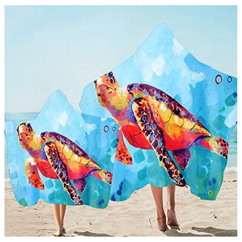 3D Gedrucktes Strandtuch mit Kapuze Für Familien Eltern-Kind Superfeine Faser Bademantel Wechseln Poncho Surf Handtuch Schwimmen Strand Weiche Dünn Decke (Farbe Schildkröte, Kid Adult 2pcs)