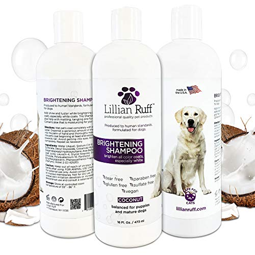 Lillian Ruff Brightening & Whitening Shampoo for Dogs – Tear Free Coconut Scent with Aloe for Dry & Sensitive Skin – Adds Shine & Luster to Coats (16oz)