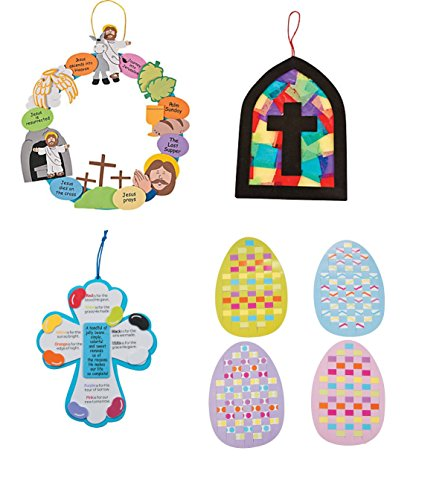 Review Of Easter Craft Kit for Kids- Christian Wreath, Cross Stained Glass Window, Jelly Bean Prayer...