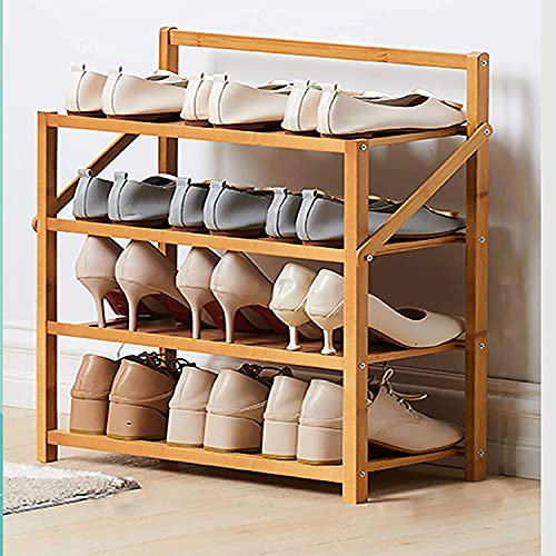 YQCX Zapatero,4 Niveles de Zapatos de Bambú, Estante de Zapatos Portátiles Plegables, Estantería de Zapatos para Zapatos Ajustables, Organizador de Alenamiento de Soporte de Zapatos