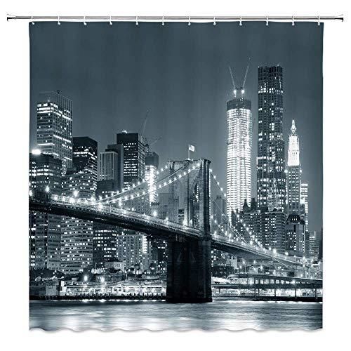 EdCott New York Duschvorhang Queensboro Bridge NYC Nacht Sepia Artprints Urban City View Modernes Leben Thema Stoff Stoff Bad Dekor Dekor mit Haken 72 Zoll lang Grau Braun