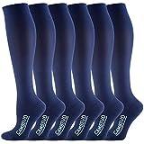 CAMBIVO 6 Paar Kompressionsstrümpfe, Kompressionssocken für Damen und Herren, Laufen, Sport, Flug, Reise, Schwangerschaft (Blau, XXL)