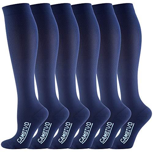 CAMBIVO - 6 Pares de Calcetines de Compresion para Mujer y Hombre, Calcetines Compresivos Deportivos, Medias de Compresión para Deporte, Running, Baloncesto, Fútbol, Trabajo, Viaje (Azul, XXL)