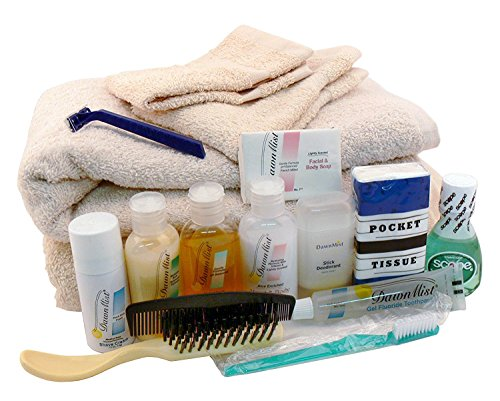 Image: Non-Profit Depot Toiletry Charity Gift Kit | Includes travel-sized toiletries: toothbrush and toothpaste, soap, shampoo, deodorant, lotion, shave cream and razor, hairbrush and comb, two washcloths, two bath towels