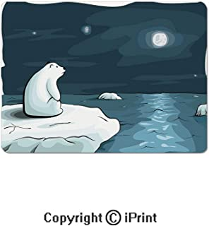 Oversized Mouse Pad,Cartoon Style Hand Drawn Polar Bear in The Arctic Staring at The Moon Image Print Decorative Gaming Keyboard Pad,9.8x11.8 inch Non-Slip Office Computer Desk Mat,