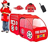 Fire Truck Pop Up Play Tent with Firefighter Costume, Jacket & Hat– Red Fire Engine Playhouse for...